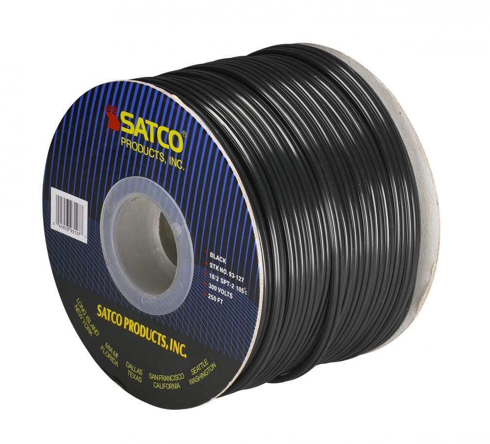 Bulk Wire; 18/2 SPT-2 105°C; 250 Foot Spool; Black : 93/127 ...