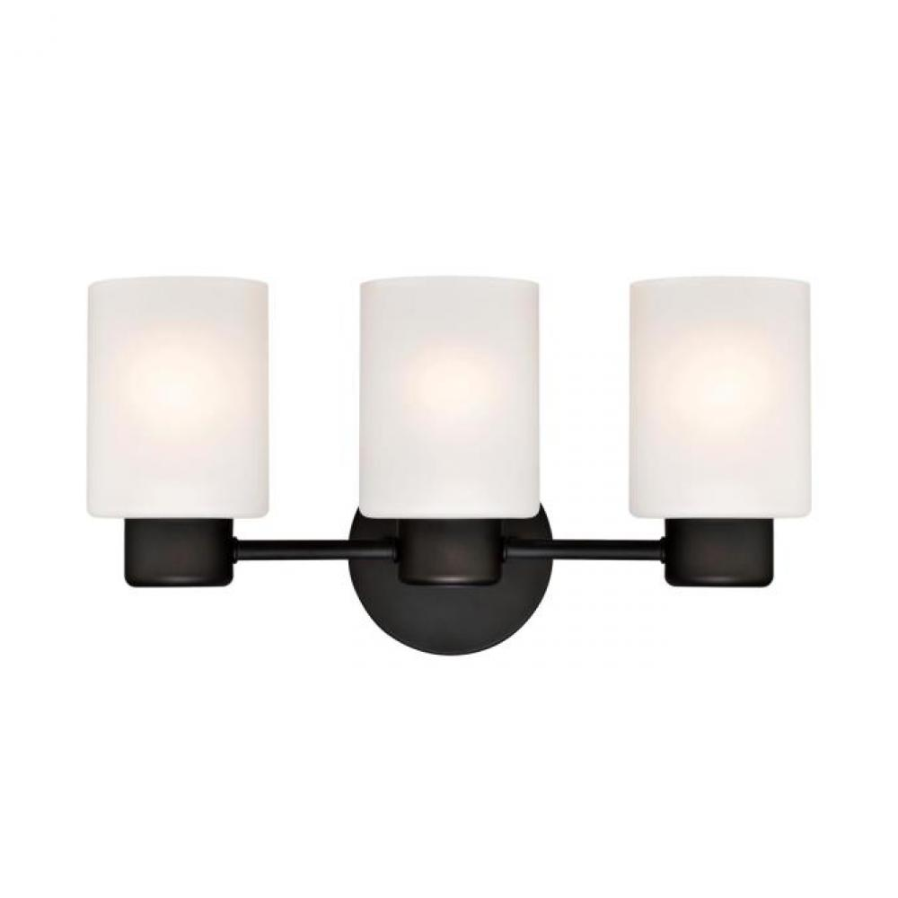 3 Light Wall Oil Rubbed Bronze Finish With Frosted Glass