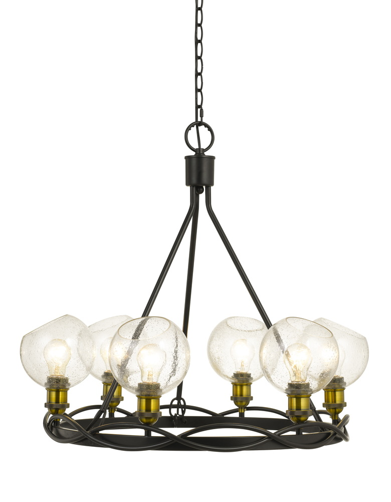 60w X 6 Soria Metal Chandelier With Bulbbed Round Glass Shade Edison Bulbs Not Included