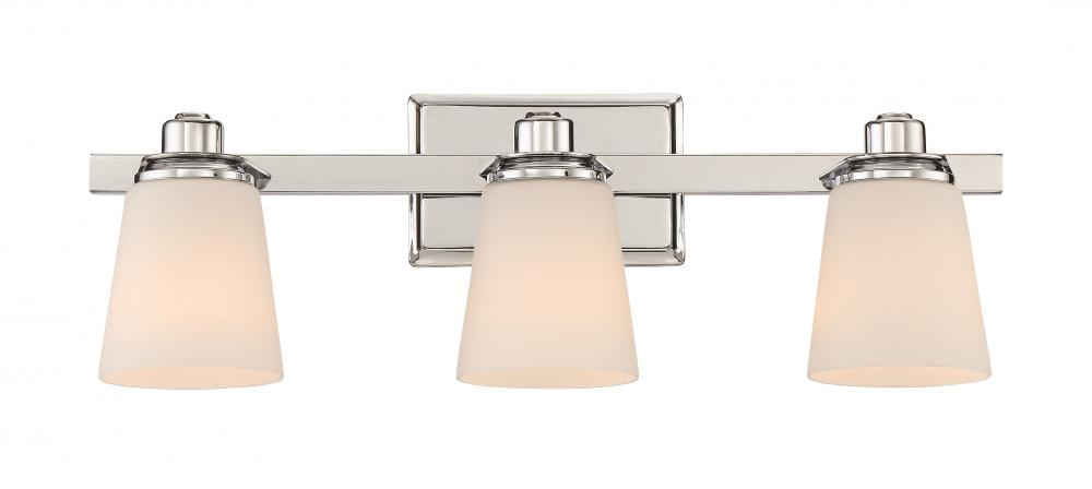 Rival Bath Fixture With 3 Lights In Polished Chrome